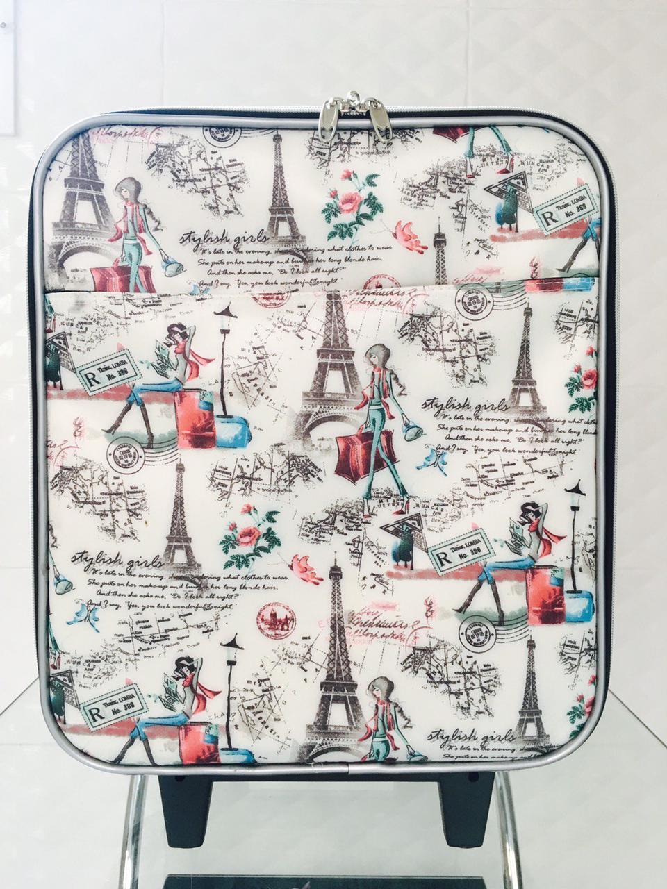 กระเป๋าเดินทางแบบผ้า ลายหอไอเฟล 16 นิ้ว รูปที่ 1