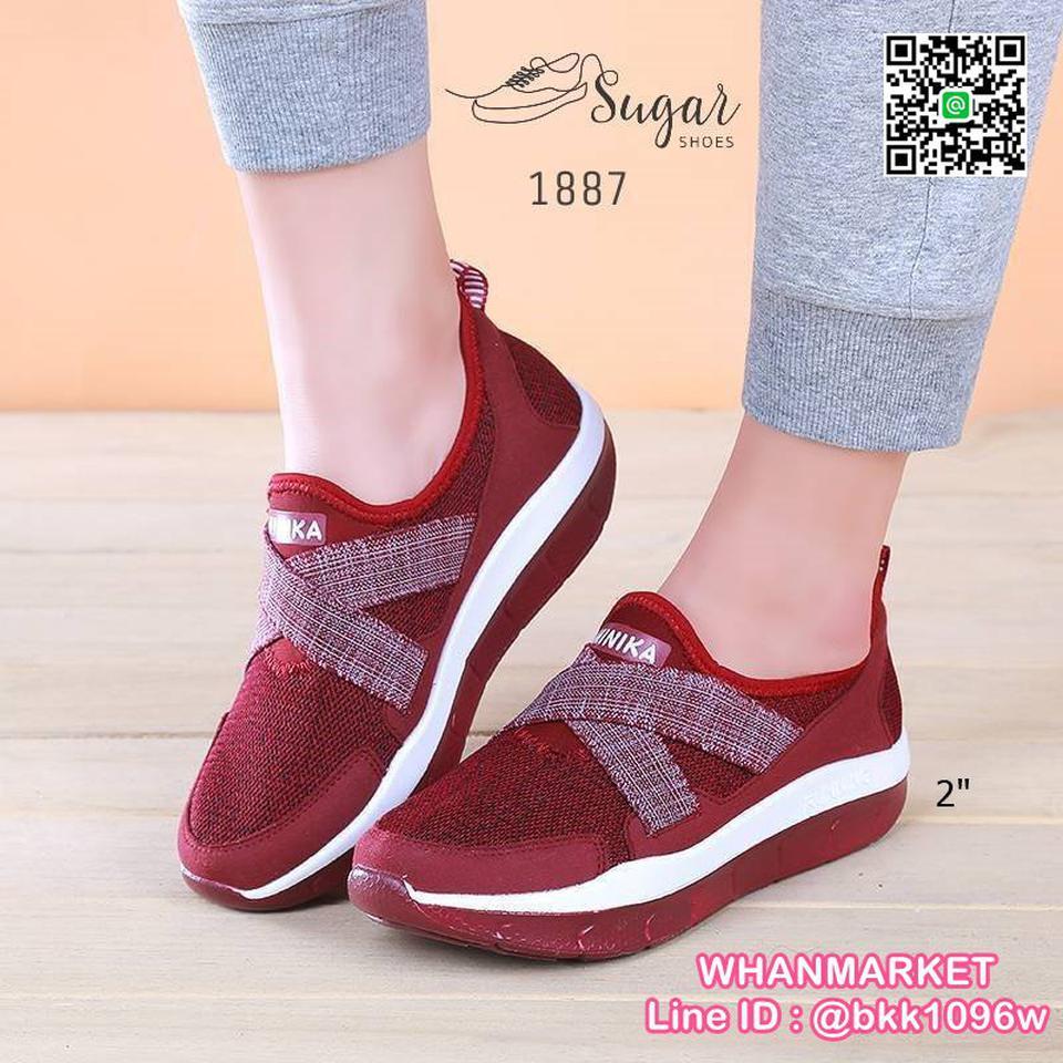 รองเท้าผ้าใบลำลอง เสริมส้น 2 นิ้ว วัสดุผ้าทอตาข่ายอย่างดี  รูปที่ 1