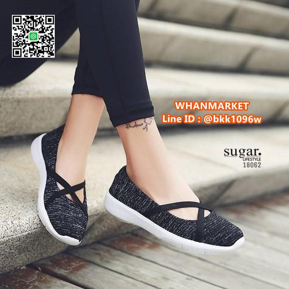 รองเท้าผ้าใบลำลอง ทำจากผ้าใบยืดหยุ่นได้ดี มีสายยางยืดรัดหน้า รูปที่ 6
