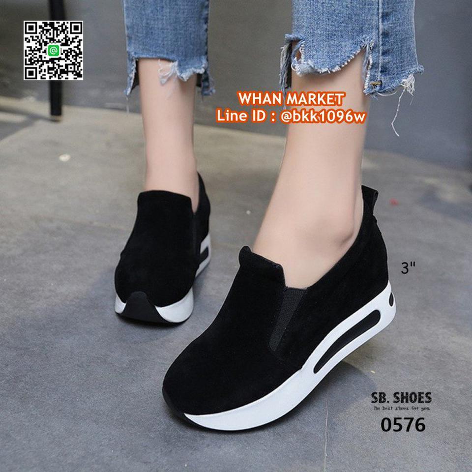 รองเท้าผ้าใบเสริมส้น สูง 3 นิ้ว สไตล์เกาหลี วัสดุหนังสักกะหล รูปที่ 6