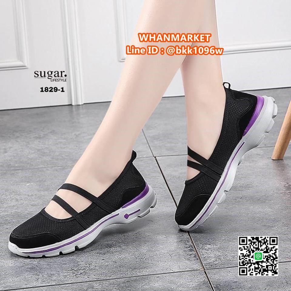 รองเท้าผ้าใบลำลอง ทำจากผ้ายืดตาข่าย มีสายยางยืดรัด รูปที่ 4