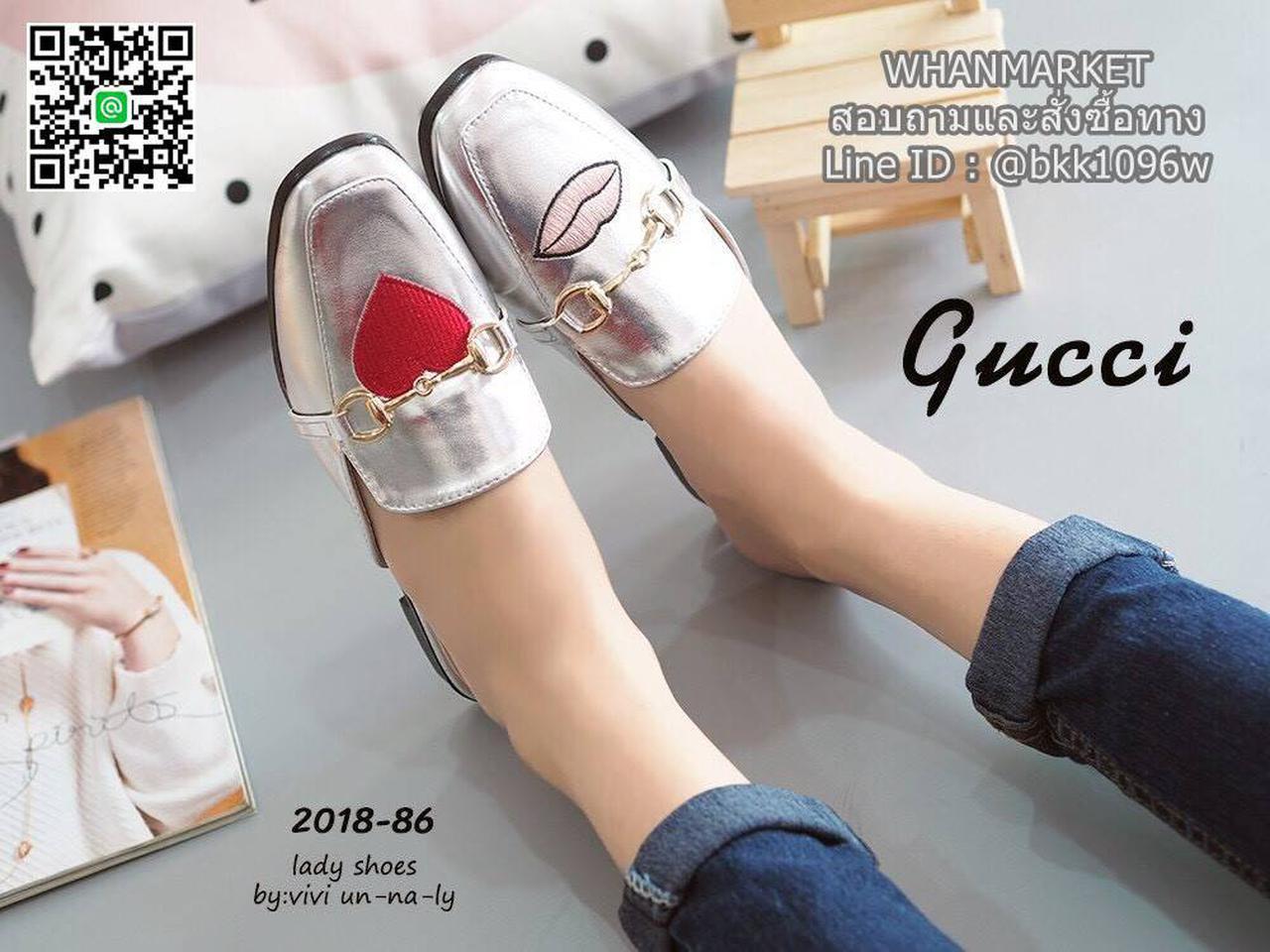 รองเท้าแตะหัวตัด งานเปิดส้น งานstyle Gucci ปักลายรูปปากและหัวใจ สุดน่าร๊าก รูปที่ 1