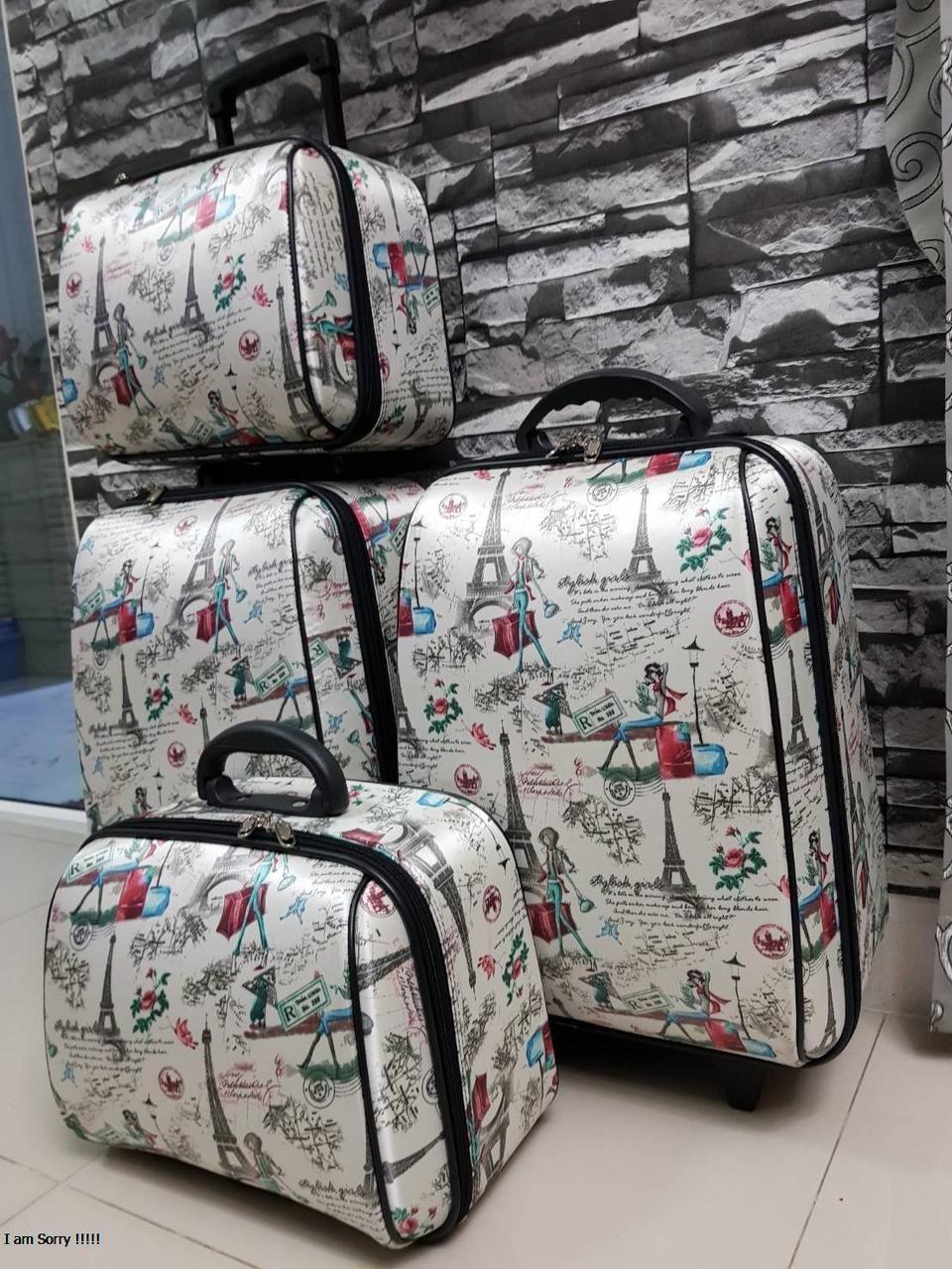กระเป๋าเดินทางแบบผ้า เซ็ทคู่ 18/13 นิ้ว ลายหอไอเฟว รูปที่ 5