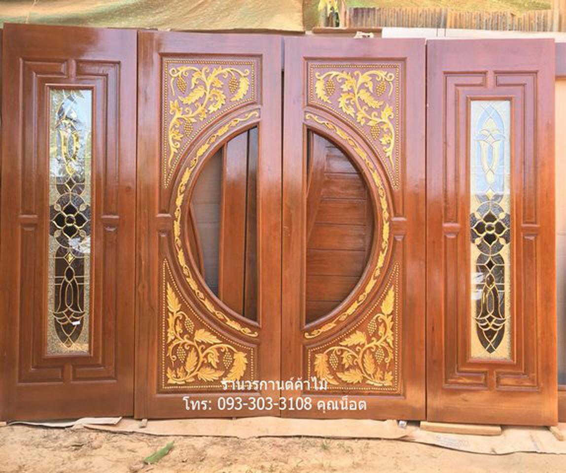 ประตูไม้สักบานเลื่อน ประตูไม้สักกระจกนิรภัย รูปที่ 3