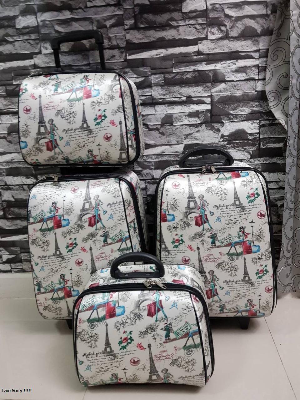กระเป๋าเดินทางแบบผ้า เซ็ทคู่ 18/13 นิ้ว ลายหอไอเฟว รูปที่ 4