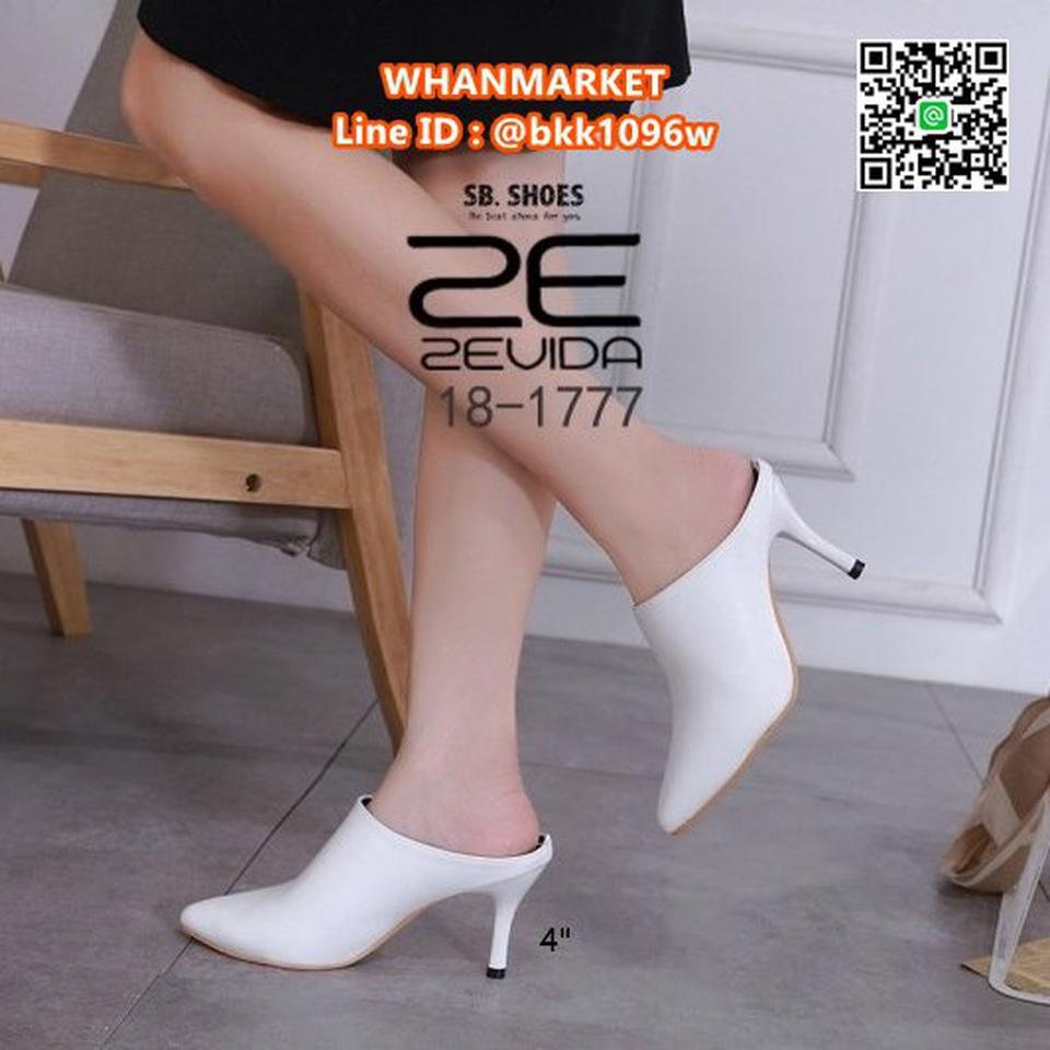 รองเท้าหัวแหลม ส้นสูงแบบสวม เปิดส้น วัสดุหนังPU คุณภาพดี  รูปที่ 5