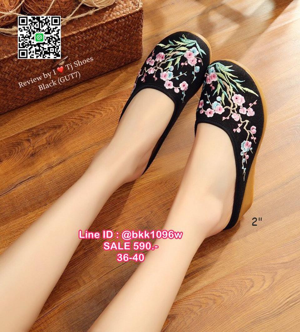 รองเท้าเปิดท้าย เสริมส้น 2 นิ้ว วัสดุผ้าปักลายดอกไม้น่ารักๆ น้ำหนักเบา รูปที่ 2
