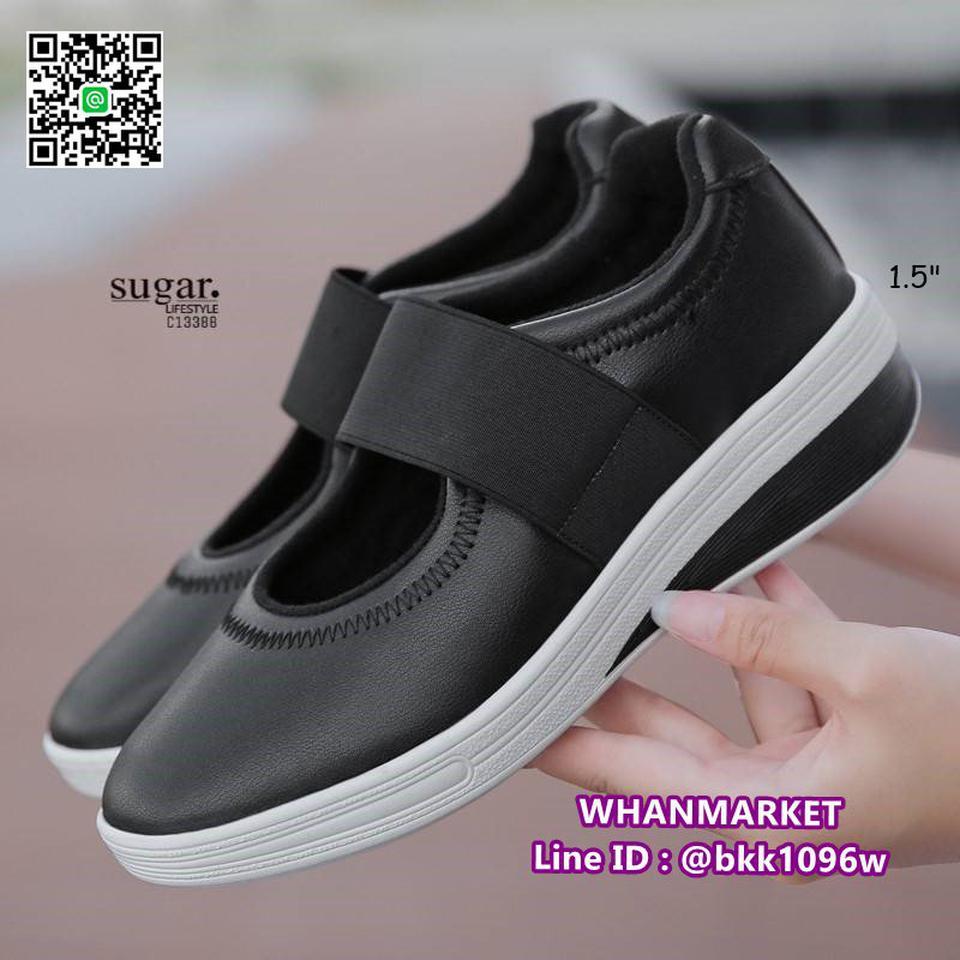 รองเท้าผ้าใบหนังเสริมส้น 1.5 นิ้ว วัสดุหนัง pu นิ่มมาก  รูปที่ 1