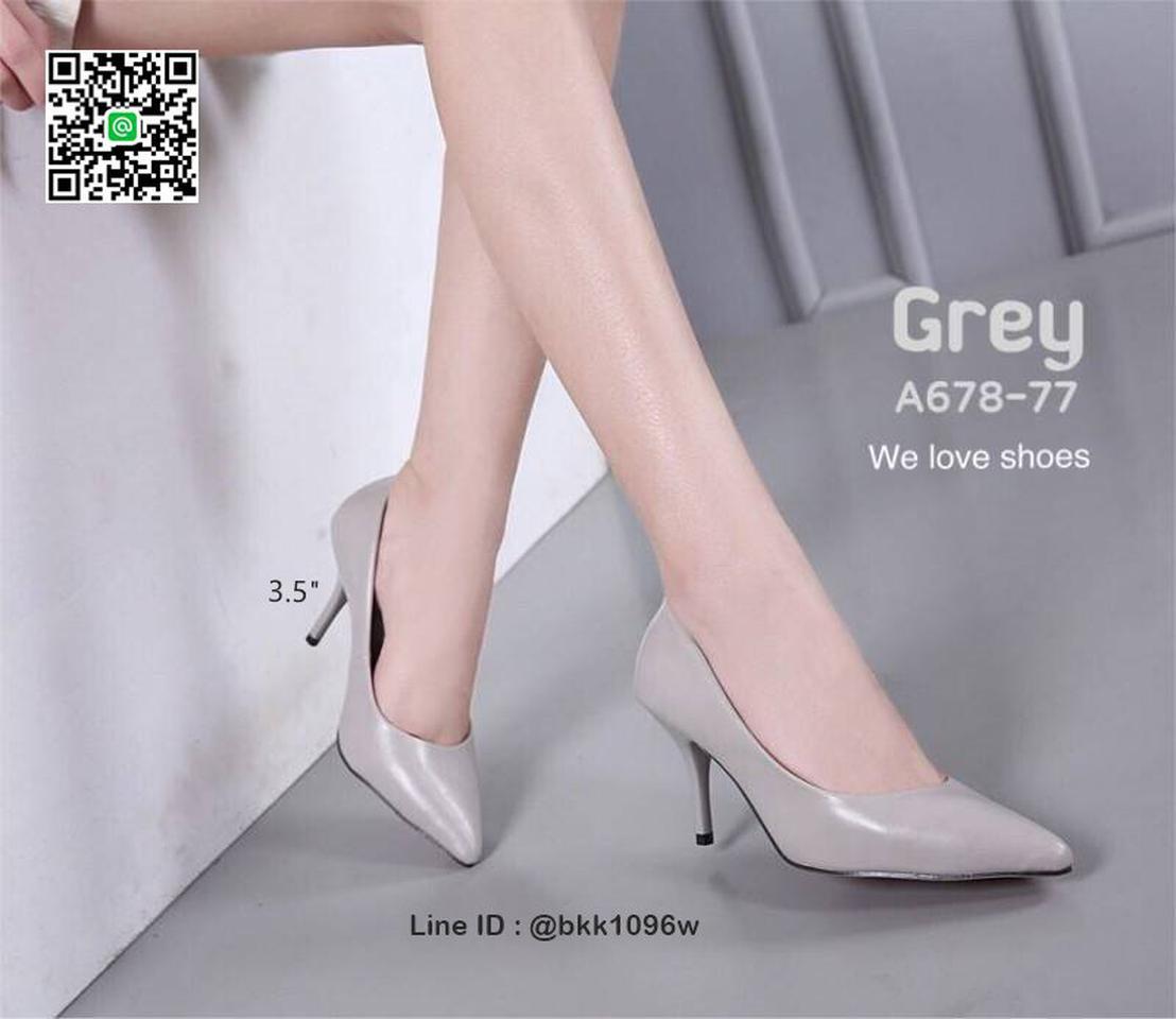 รองเท้าคัชชู ส้นสูง 3.5 นิ้ว หนังPUนิ่ม เงางาม ทรงหัวแหลม รูปที่ 6