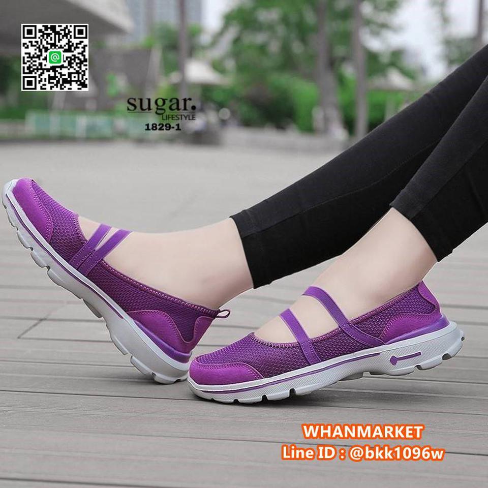รองเท้าผ้าใบลำลอง ทำจากผ้ายืดตาข่าย มีสายยางยืดรัด รูปที่ 2