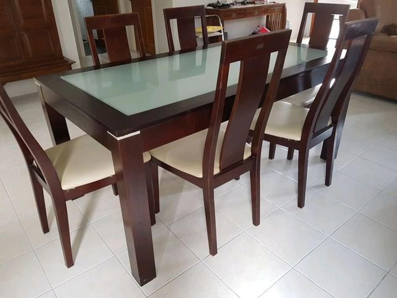 ชุดโต๊ะ พร้อมเก้าอี้ 6 ที่นั่ง  ขนาดโต๊ะ 165x90 cm. รูปที่ 3