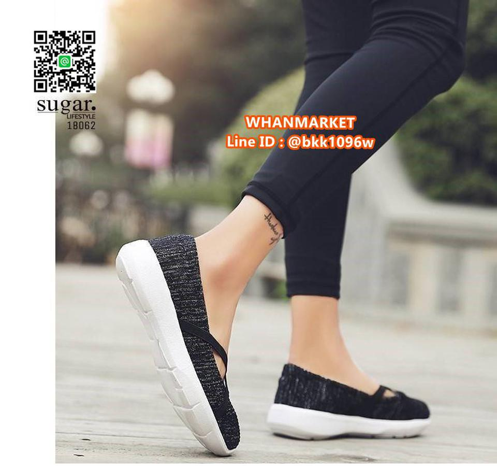 รองเท้าผ้าใบลำลอง ทำจากผ้าใบยืดหยุ่นได้ดี มีสายยางยืดรัดหน้า รูปที่ 3