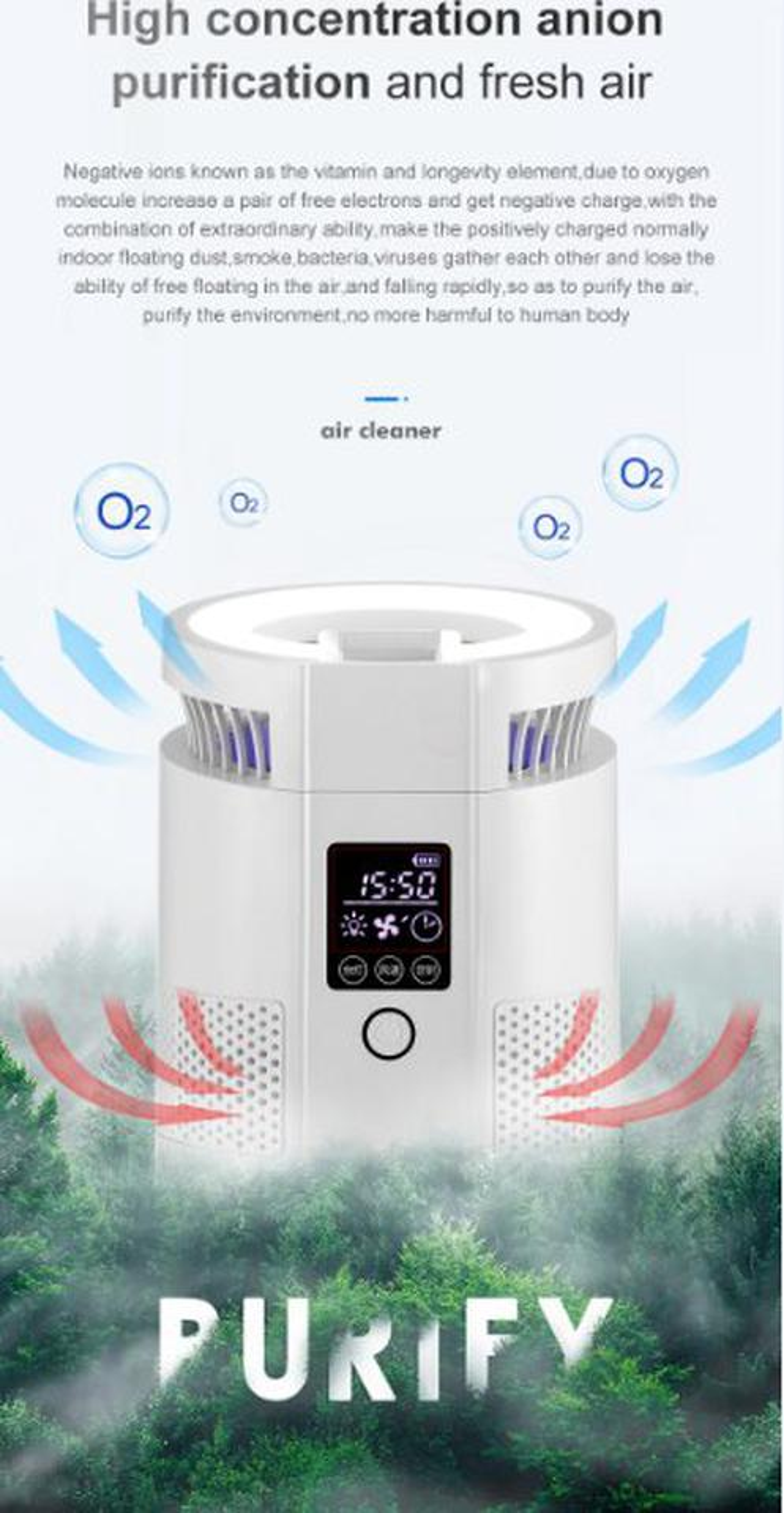 Aziure Ion Air Purifier เครื่องฟอกอากาศตั้งโต๊ะ รูปที่ 6