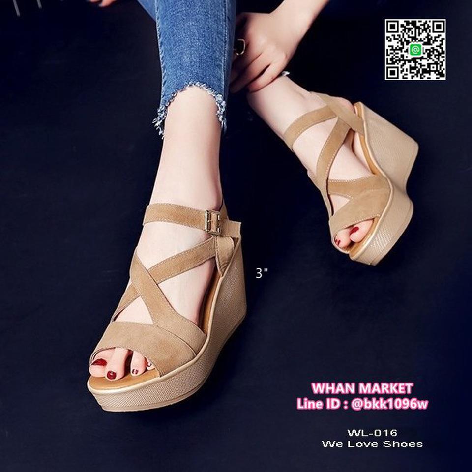 รองเท้าส้นเตารีดสูง 3 นิ้ว วัสดุผ้ากำมะหยี่ สวมใส่ง่ายด้วยตะ รูปที่ 4