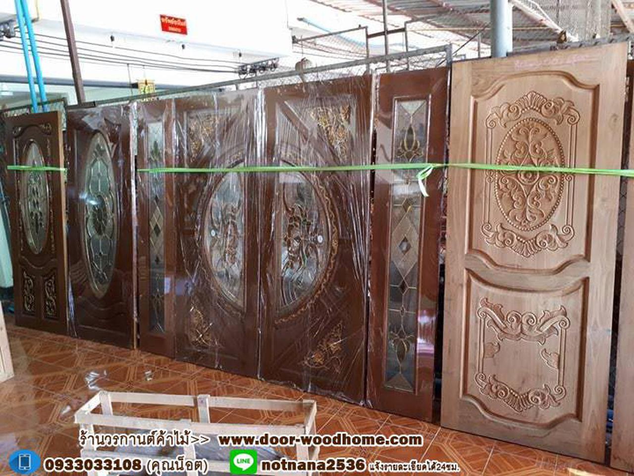 ประตูไม้สักกระจกนิรภัย , ประตูไม้สักบานคู่ ร้านวรกานต์ค้าไม้ door-woodhome.com รูปที่ 5