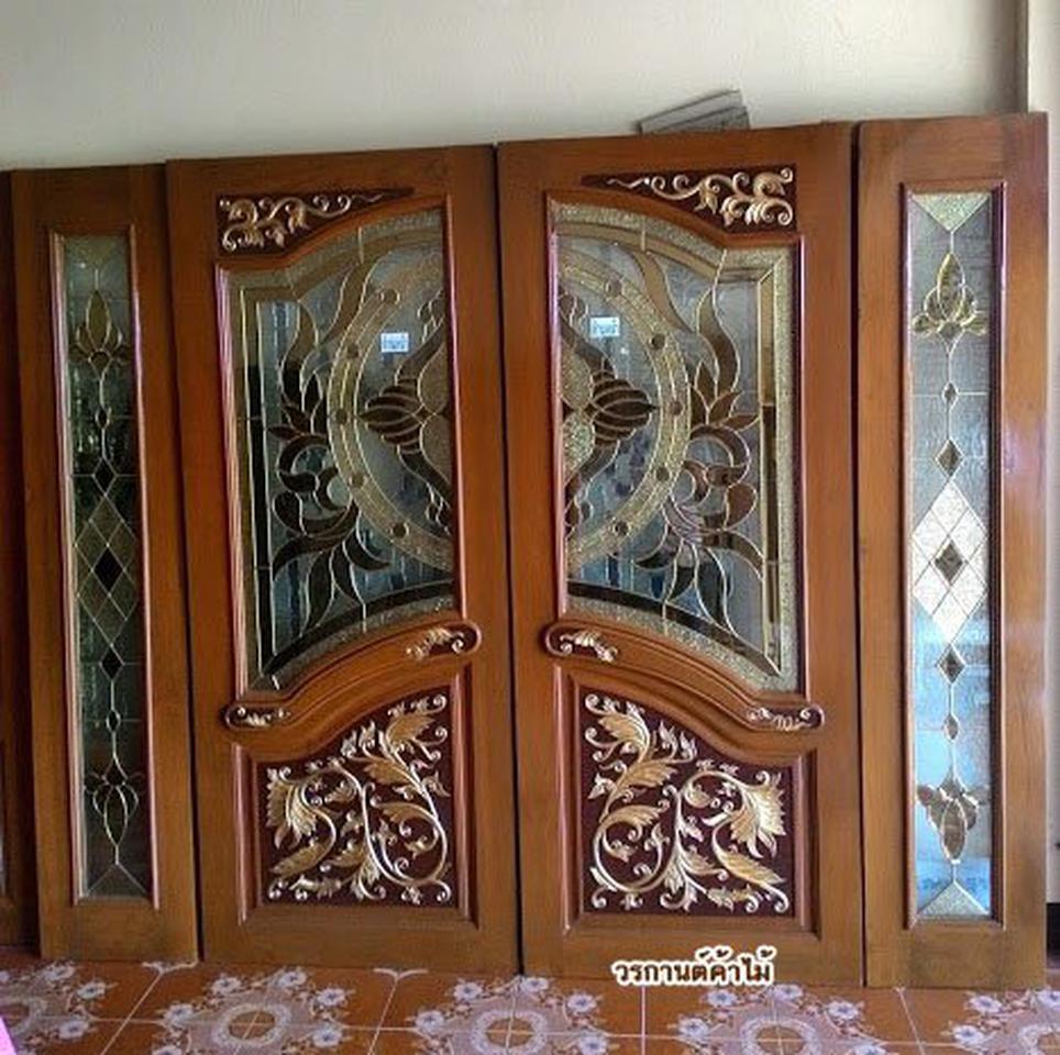 ประตูไม้สัก , ประตูไม้สักกระจกนิรภัย , ประตูหน้าต่าง ร้านวรกานต์ค้าไม้ door-woodhome รูปที่ 4