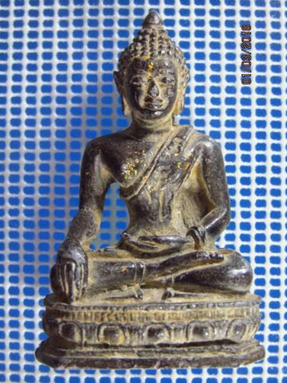 5131 พระบูชาเนื้อตะกั่วสนิมแดง ปิดทองเก่า ฐานกว้าง 1.4 นิ้ว  รูปที่ 5