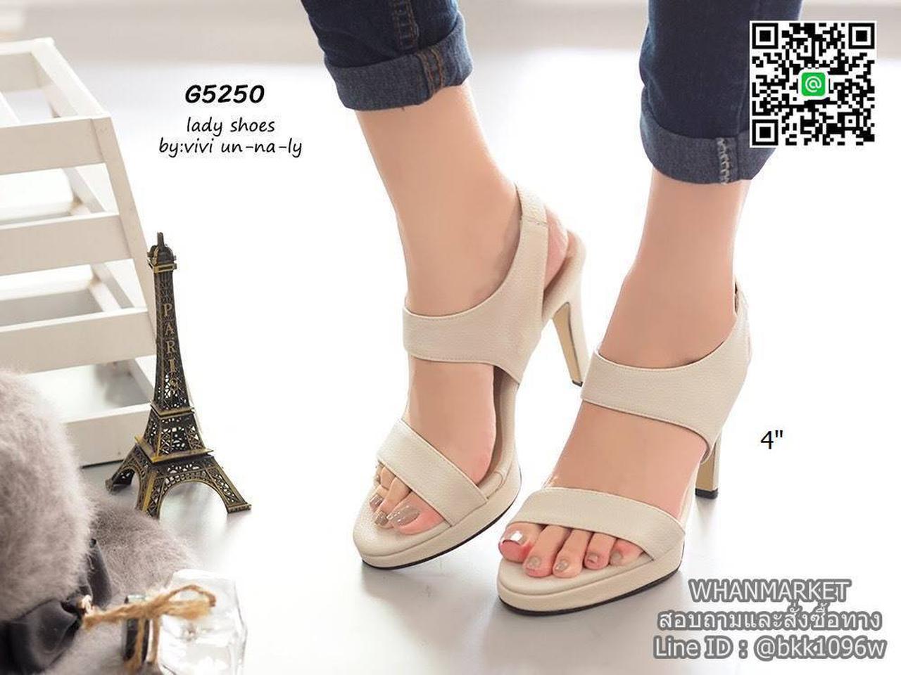 รองเท้าส้นสูงรัดส้น สายรัดแบบยางยืด ทรงสวยมากๆๆๆ เสริมหน้า 0.5 นิ้ว ความสูง 4 นิ้ว รูปที่ 1