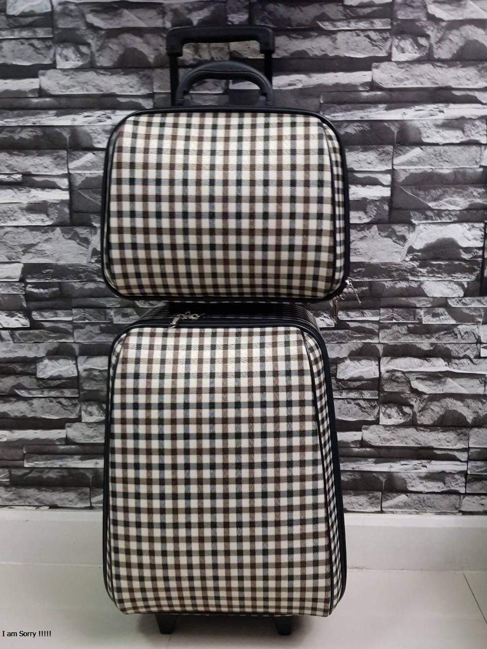 กระเป๋าเดินทางแบบผ้า เซ็ทคู่ 18/13 นิ้ว ลาย Khaki/Brown รูปที่ 2
