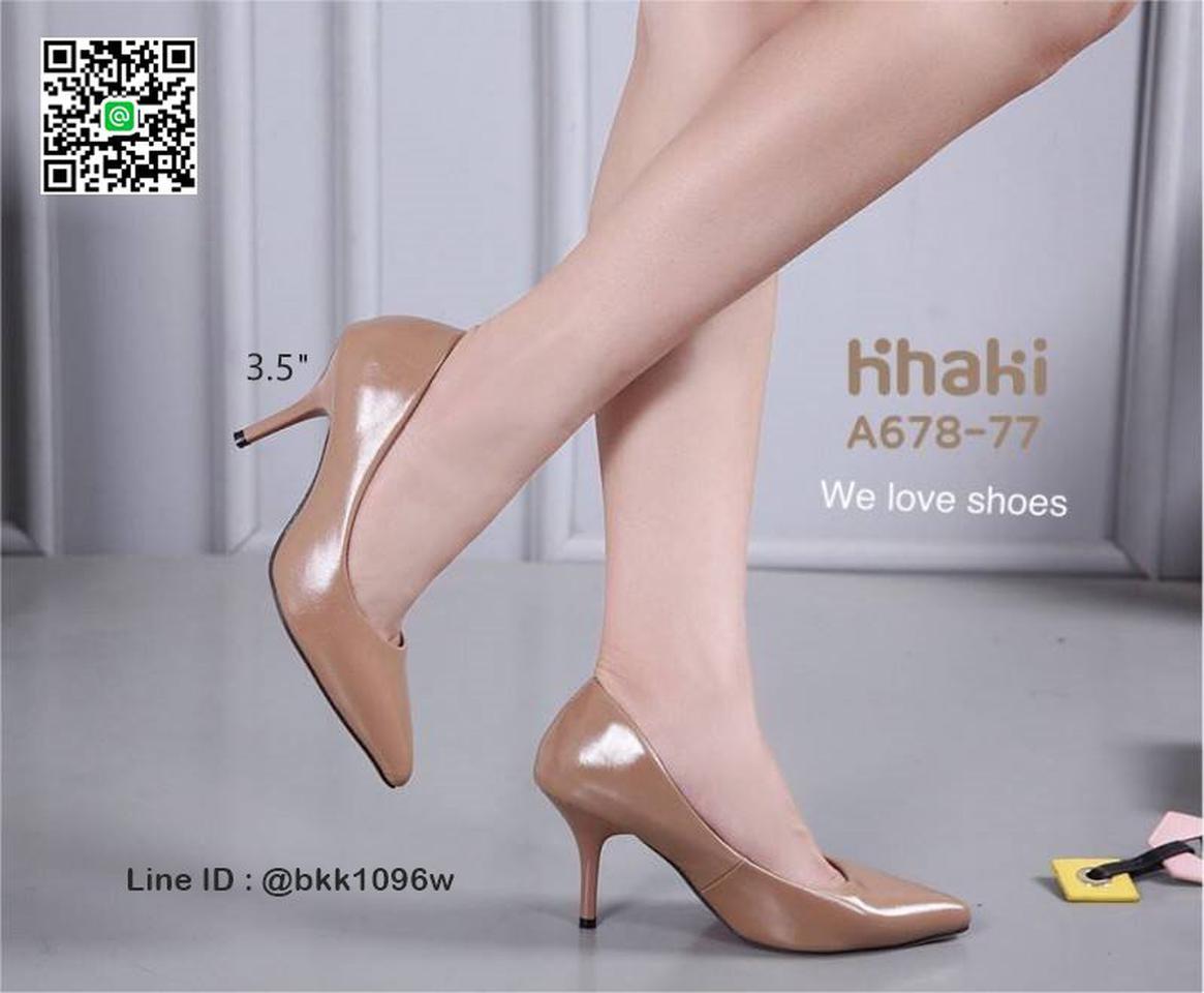 รองเท้าคัชชู ส้นสูง 3.5 นิ้ว หนังPUนิ่ม เงางาม ทรงหัวแหลม รูปที่ 4