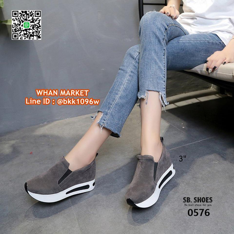 รองเท้าผ้าใบเสริมส้น สูง 3 นิ้ว สไตล์เกาหลี วัสดุหนังสักกะหล รูปที่ 3