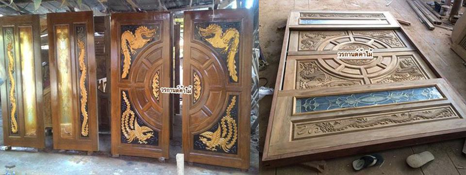ประตูไม้สัก ,ประตูไม้สักกระจกนิรภัย, ประตูไม้สักบานคู่, ประตูไม้สักบานเดี่ยว ร้านวรกานต์ค้าไม้  door-woodhome.com รูปที่ 5