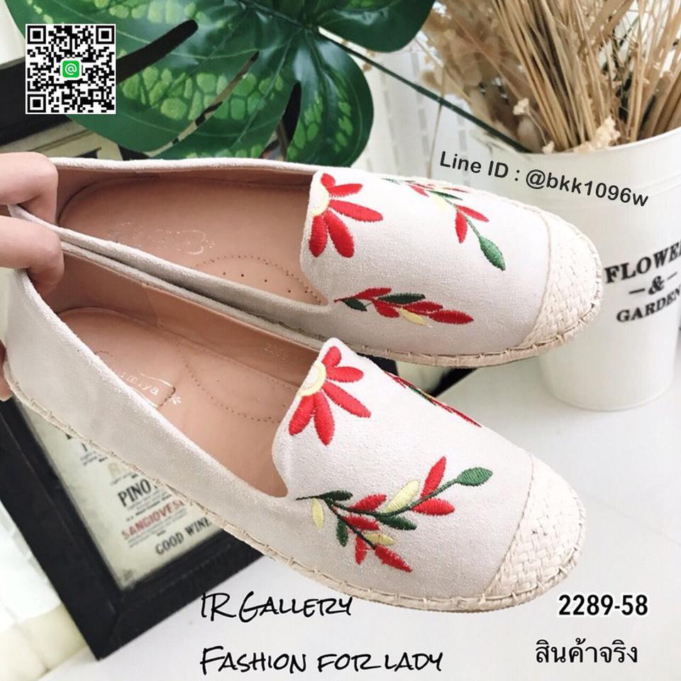 รองเท้าคัชชูลำลอง ทรงเอสพราดิล วัสดุหนังกลับนิ่มปักดอกไม้  รูปที่ 4