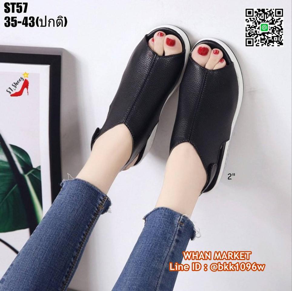 รองเท้าลำลอง แบบสวม เปิดท้าย วัสดุหนัง pu นิ่ม น้ำหนักเบา รูปที่ 4