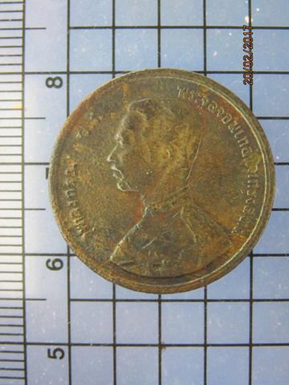 4273 เหรียญทองแดง 1อัฐ รศ.115 ตราพระสยามเทวาธิราช หัวไม่ตรงก รูปที่ 2
