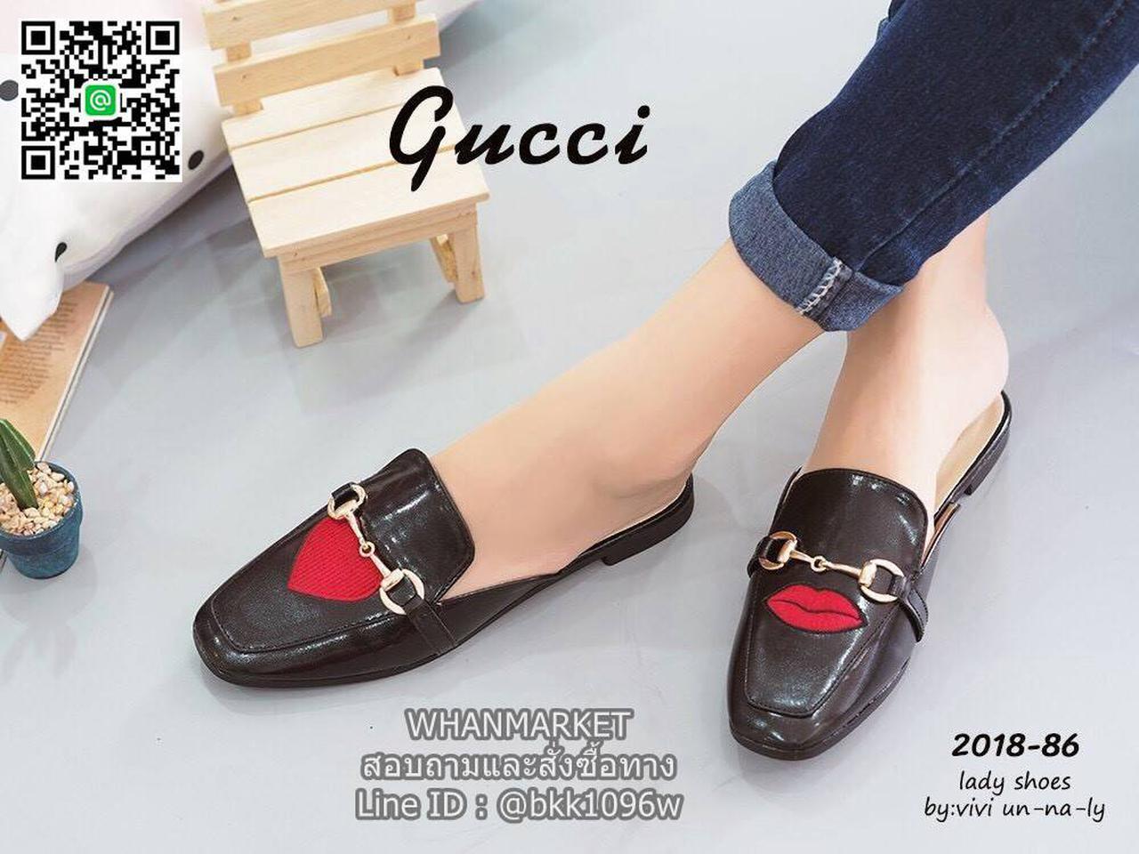 รองเท้าแตะหัวตัด งานเปิดส้น งานstyle Gucci ปักลายรูปปากและหัวใจ สุดน่าร๊าก รูปที่ 3