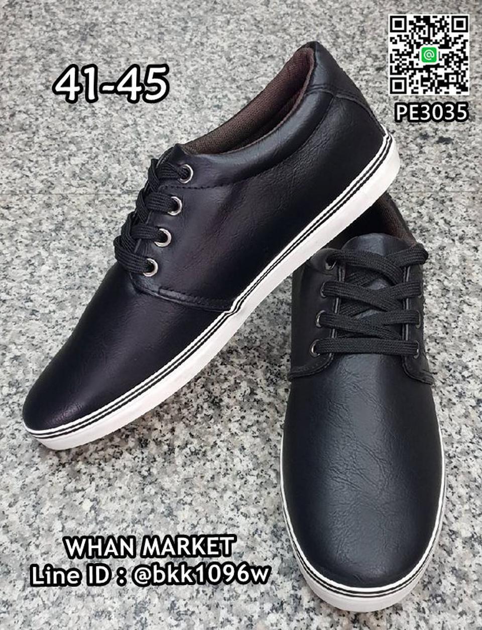 รองเท้าผ้าใบหนังผู้ชาย วัสดุหนังPU คุณภาพดี มีเชือกผูกปรับกร รูปที่ 4
