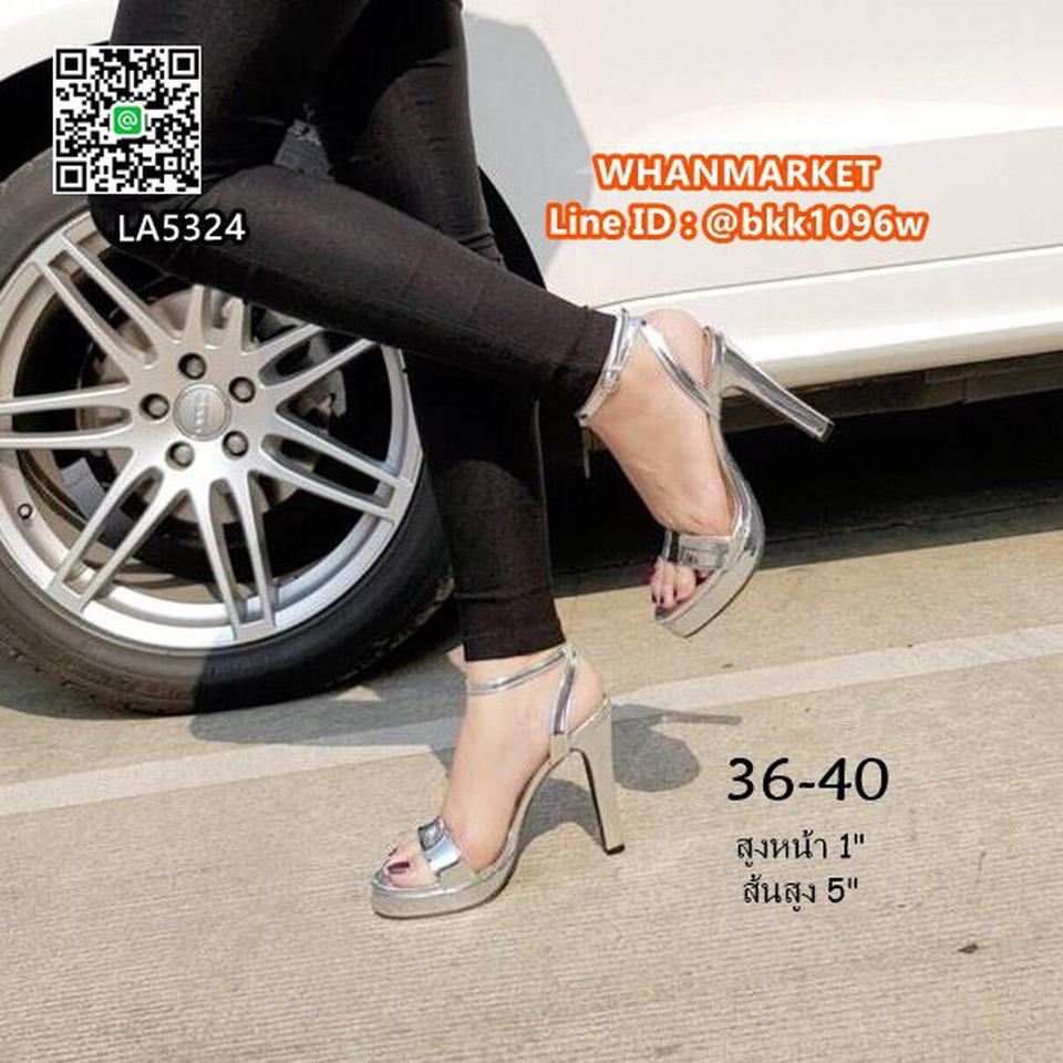 """รองเท้าส้นสูงแฟชั่น แบบรัดข้อ วัสดุหนังPUเคลือบ สีเงิน สูง5"""" รูปที่ 3"""