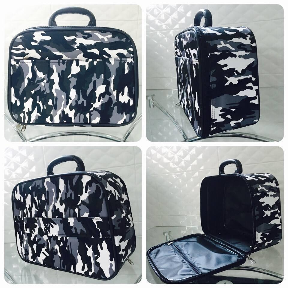 กระเป๋าเดินทาง PVC ลายทหาร ขาวดำ ขนาด 10.5 นิ้ว รูปที่ 1