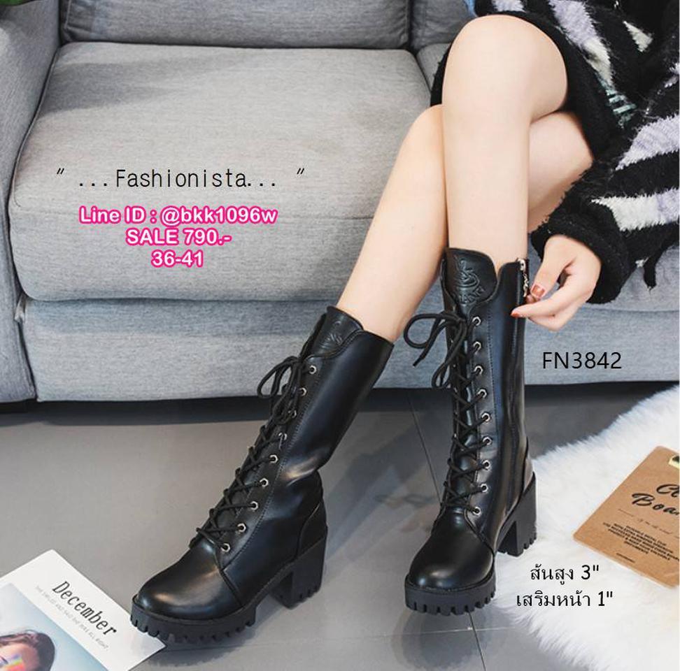 รองเท้าบูทแฟชั่น ทรงสูง มีซิปข้างถอดใส่ง่ายมาก วัสดุหนัง pu คุณภาพดี รูปที่ 2