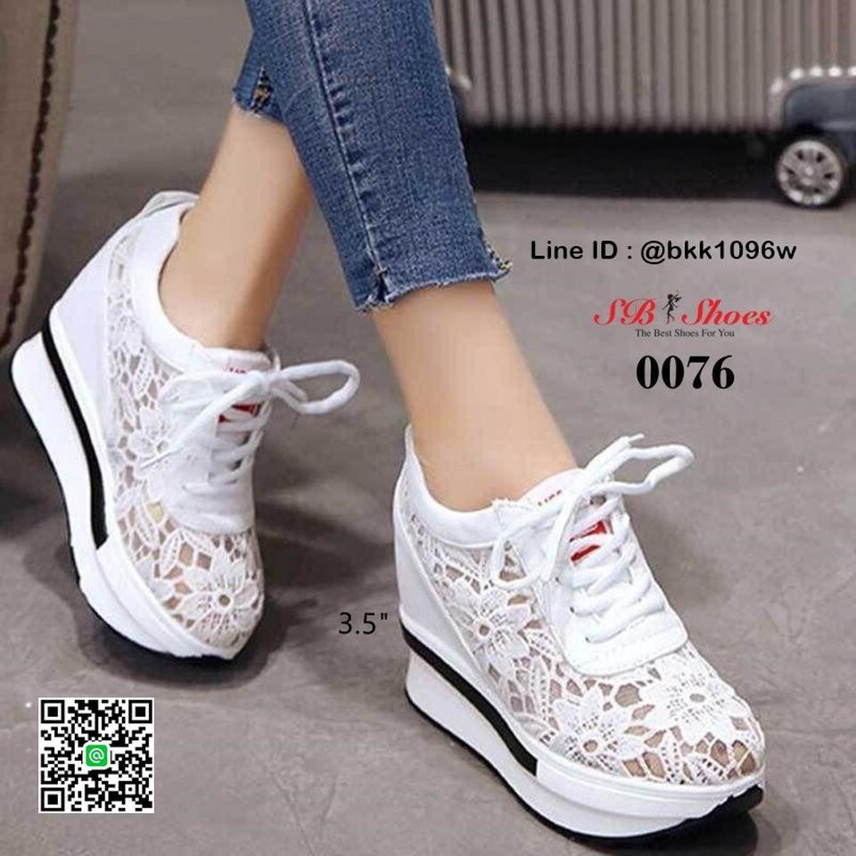 รองเท้าผ้าใบเสริมส้น วัสดุลูกไม้+หนัง PU แพลตฟอร์มเกาหลี   รูปที่ 1