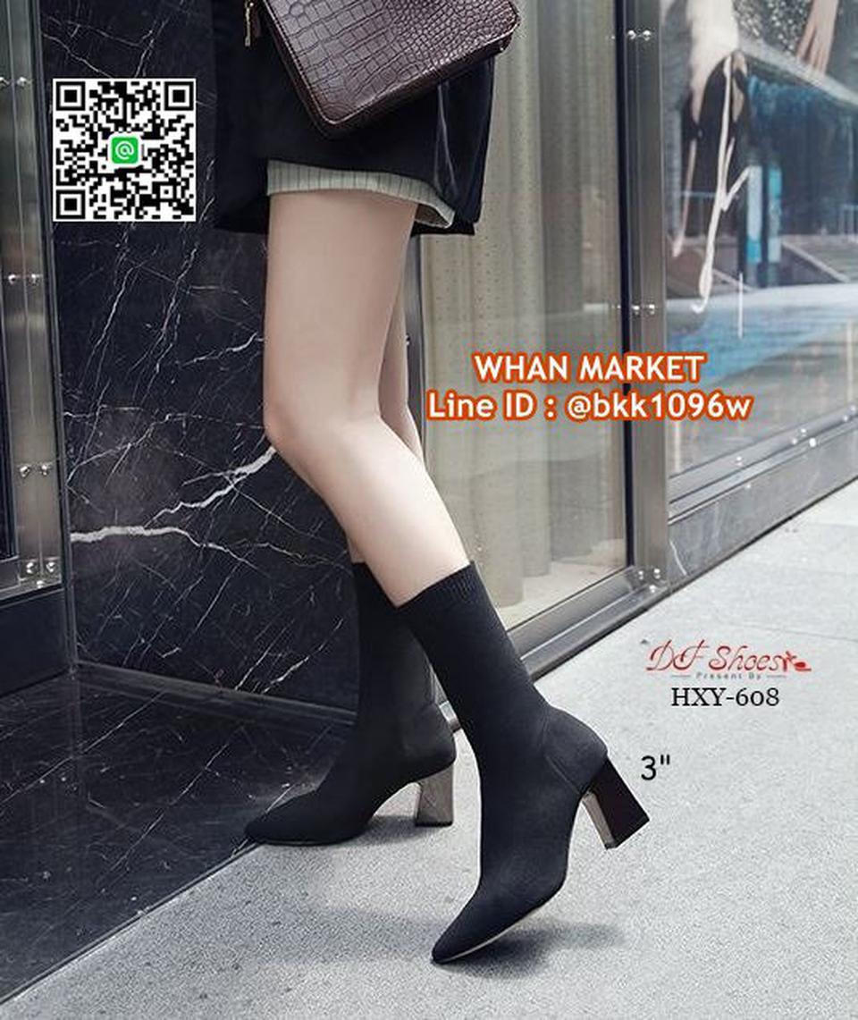 รองเท้าบูทส้นสูง 3 นิ้ว หัวแหลม วัสดุผ้ายืดหนาอย่างดี  รูปที่ 2