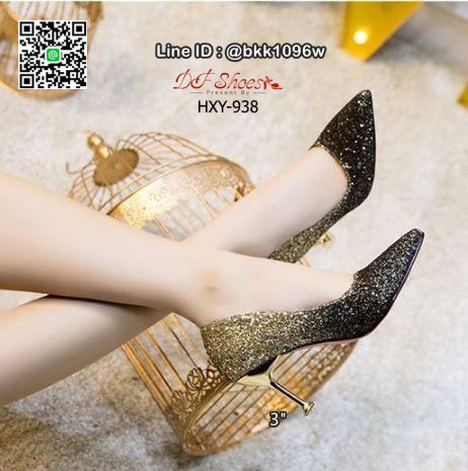 รองเท้าคัชชูส้นสูง 3 นิ้ว วัสดุหนัง PU ประดับกริตเตอร์   รูปที่ 6