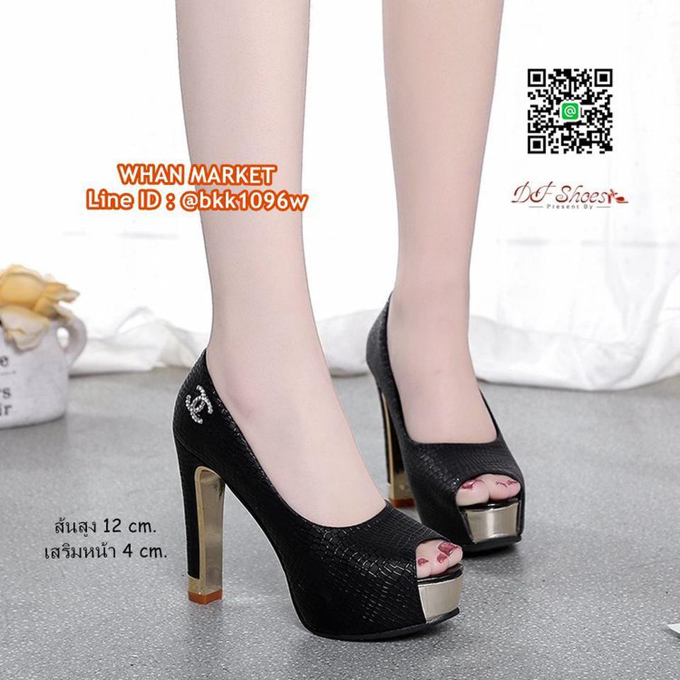 รองเท้าคัชชูส้นสูง 12 cm. เสริมหน้า 4 cm. วัสดุหนัง PU ปั้มล รูปที่ 5