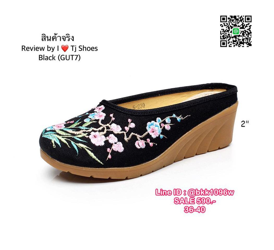 รองเท้าเปิดท้าย เสริมส้น 2 นิ้ว วัสดุผ้าปักลายดอกไม้น่ารักๆ น้ำหนักเบา รูปที่ 4