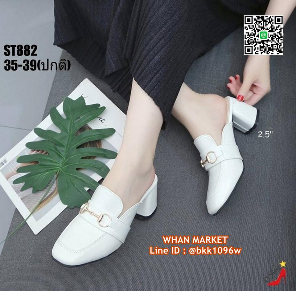 รองเท้าคัชชูเปิดท้าย ส้นเหลี่ยม สูง 2.5 นิ้ว วัสดุหนังแก้ว รูปที่ 4
