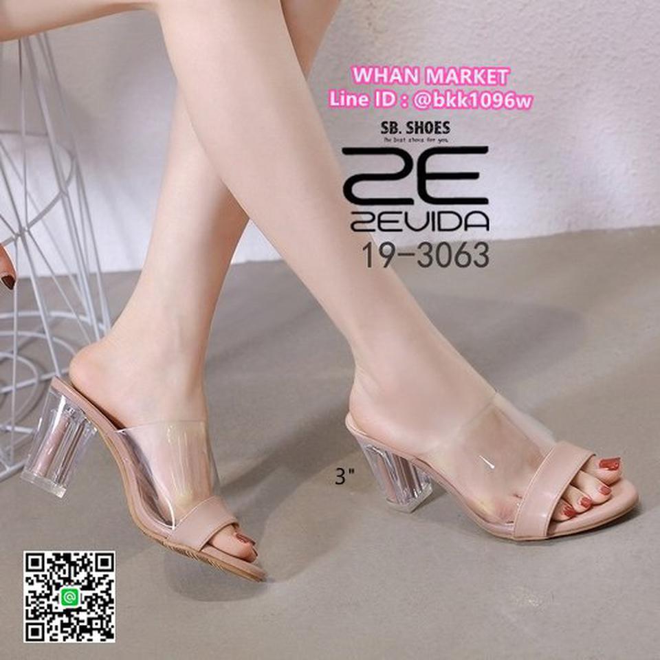 รองเท้าลำลอง ส้นสูง 3 นิ้ว ส้นแก้วใส สีโทนนู้ด ดาดหน้าอคิลิค รูปที่ 4