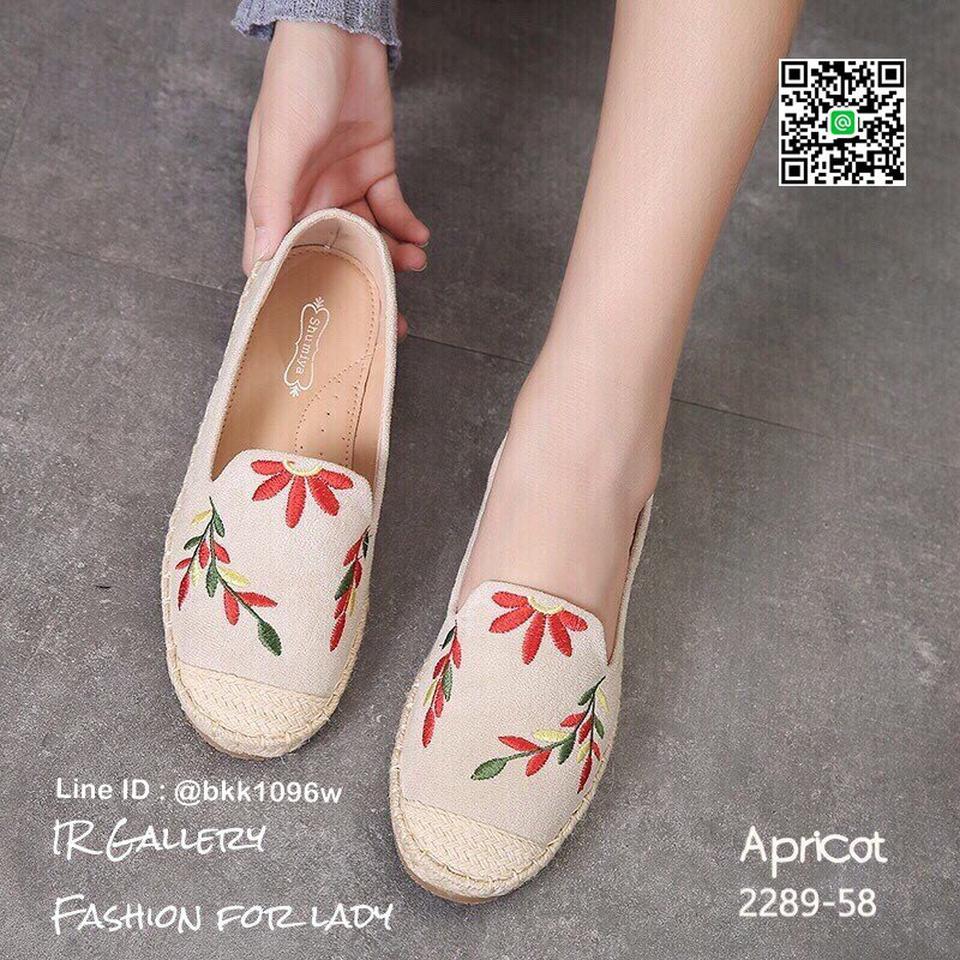 รองเท้าคัชชูลำลอง ทรงเอสพราดิล วัสดุหนังกลับนิ่มปักดอกไม้  รูปที่ 3