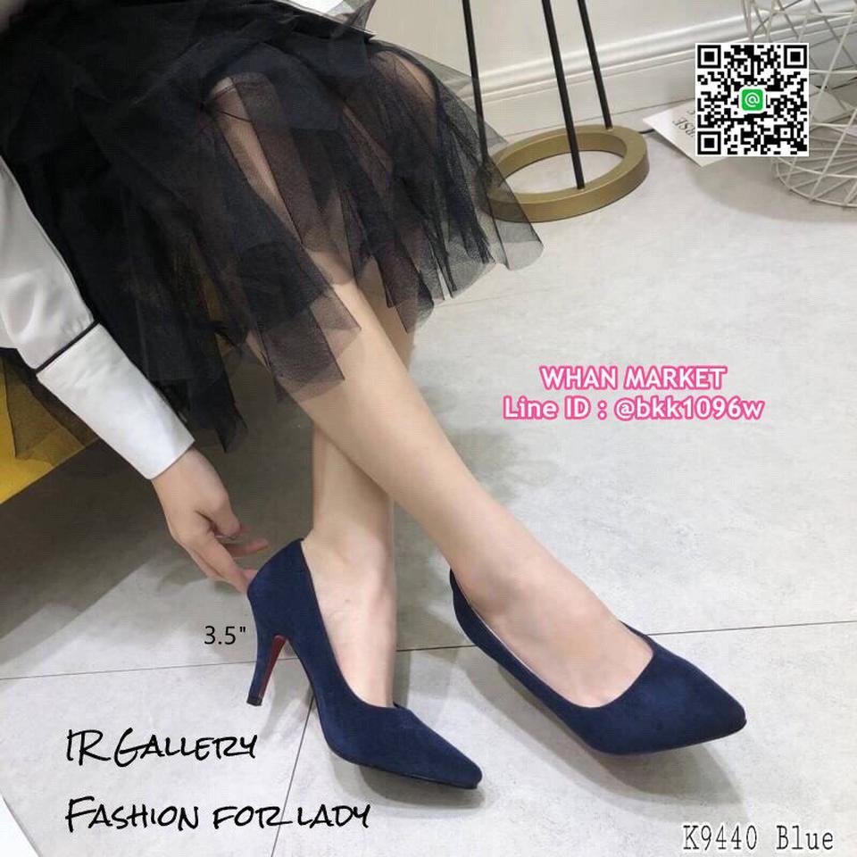 รองเท้าคัทชู หนังกลับนิ่ม หัวแหลม สูง 3.5 นิ้ว แพทเทรินสวย รูปที่ 3