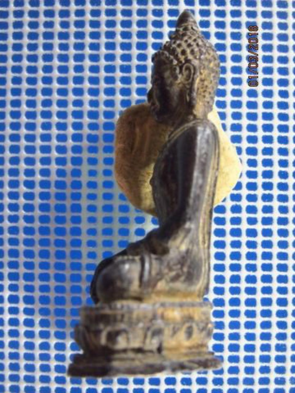 5131 พระบูชาเนื้อตะกั่วสนิมแดง ปิดทองเก่า ฐานกว้าง 1.4 นิ้ว  รูปที่ 3