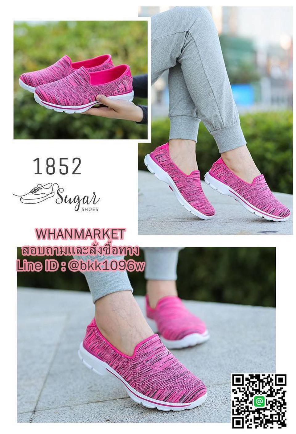 รองเท้าผ้าใบ แบบสวม ทำจากผ้ายืดทออย่างดี  พื้นนิ่มและเบามาก รูปที่ 1