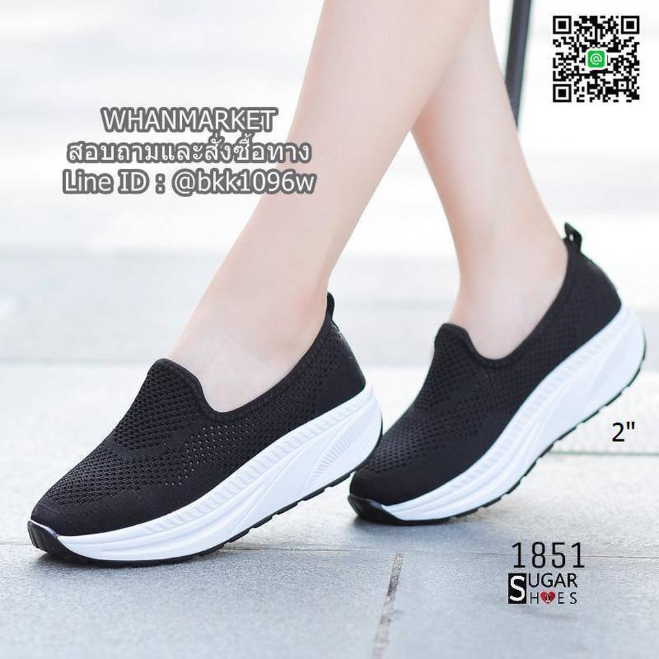 รองเท้าผ้าใบลำลอง เสริมส้น 2 นิ้ว วัสดุผ้าทอตาข่ายอย่างดี  รูปที่ 4