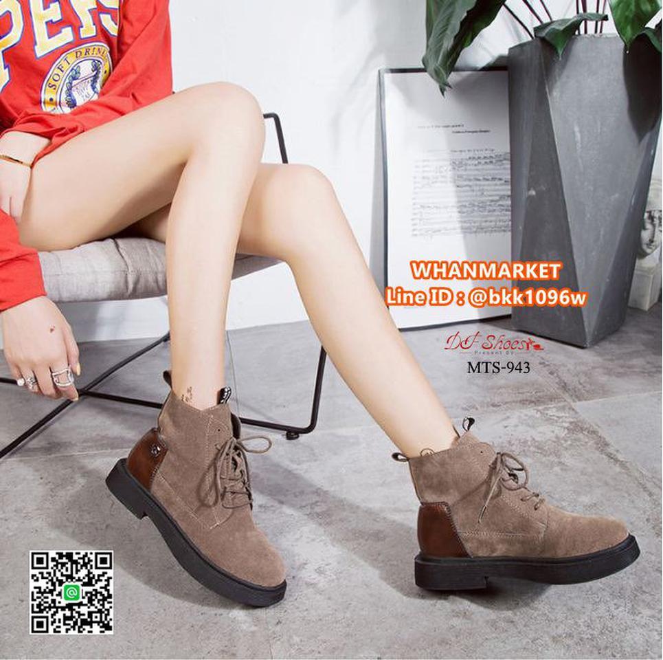 รองเท้าบูทแฟชั่น แบบผูกเชือก วัสดุหนังกลับบุขนด้านใน พื้น PU รูปที่ 1