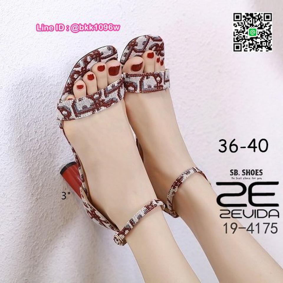 รองเท้าส้นสูง 3นิ้ว วัสดุผ้าพิมพ์ลาย รัดข้อตะขอเกี่ยว  รูปที่ 3