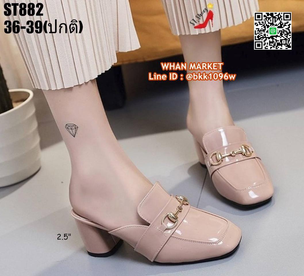 รองเท้าคัชชูเปิดท้าย ส้นเหลี่ยม สูง 2.5 นิ้ว วัสดุหนังแก้ว รูปที่ 6