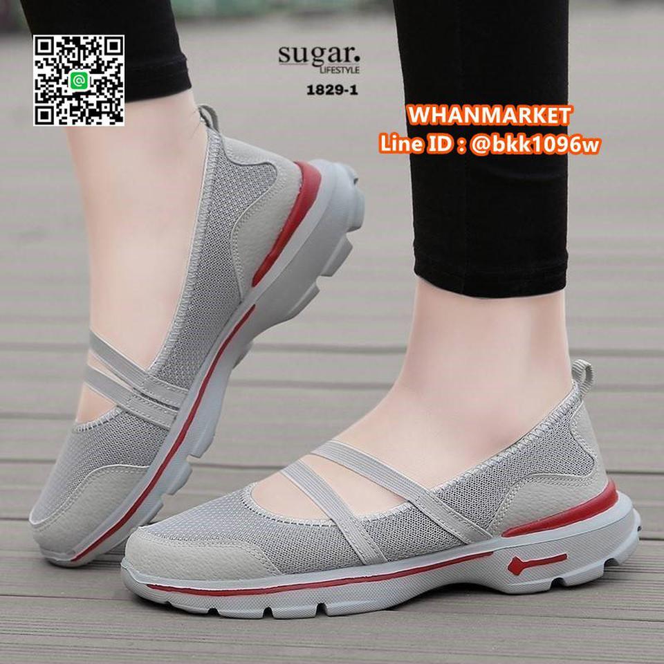 รองเท้าผ้าใบลำลอง ทำจากผ้ายืดตาข่าย มีสายยางยืดรัด รูปที่ 5